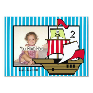 Pirate Birthday Ship Photo 13 Cm X 18 Cm Invitation Card