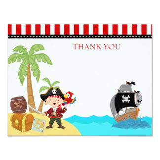 Pirate Birthday Thank You Notes 11 Cm X 14 Cm Invitation Card