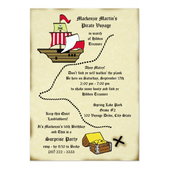 Pirate Birthday Voyage Map Card