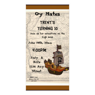 Pirate Boat and Map Birthday Picture Card