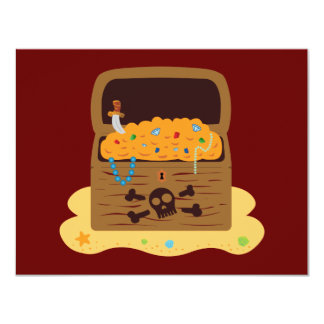 Pirate Booty Treasure Chest 11 Cm X 14 Cm Invitation Card
