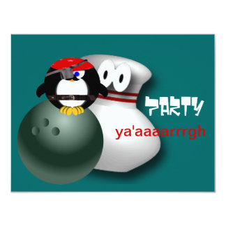"""Pirate Bowling Party Invitations Customizable 4.25"""" X 5.5"""" Invitation Card"""