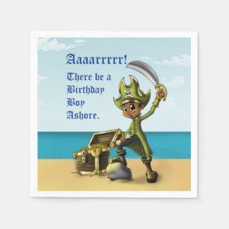 """Pirate Boy Birthday Paper Napkins"" Disposable Serviettes"