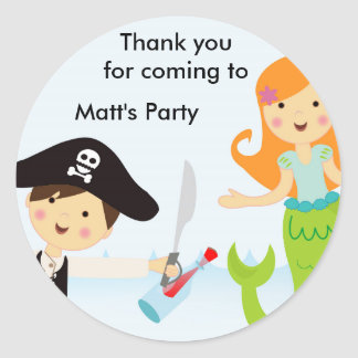 Pirate boy mermaid girl birthday party sticker