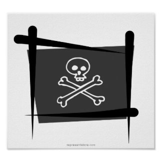 Pirate Brush Flag Poster