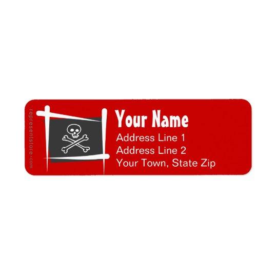 Pirate Brush Flag Return Address Label