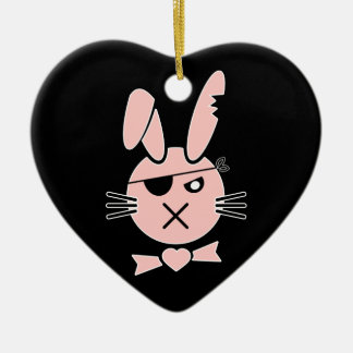 Pirate Bunny- Any Colour Background Ceramic Heart Decoration