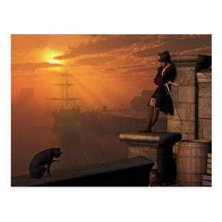 Pirate Captain at Sunset Post Cards