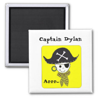 Pirate Captain Name Design Square Magnet