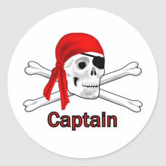 Pirate Captain Skull and Bones Sticker