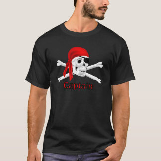 Pirate Captain Skull and Bones T-shirt Black 2