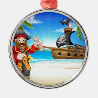 Pirate Cartoon Character on Beach Christmas Ornament