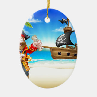 Pirate Cartoon Character on Beach Christmas Ornament