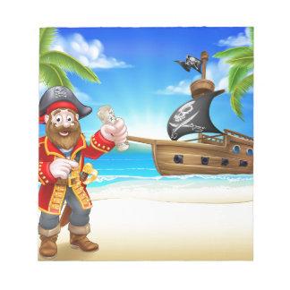 Pirate Cartoon Character on Beach Notepad