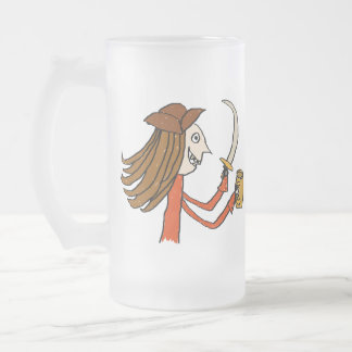 Pirate Cartoon. Frosted Glass Beer Mug
