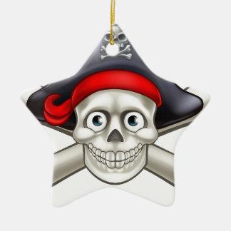 Pirate Cartoon Skull and Crossbones Ceramic Star Decoration