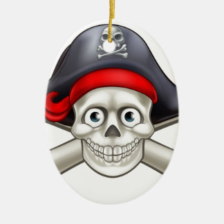 Pirate Cartoon Skull and Crossbones Christmas Ornament