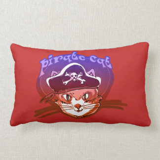 pirate cat cartoon style funny illustration lumbar cushion