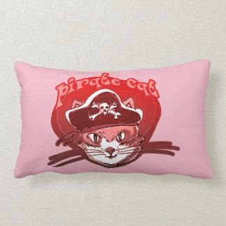 pirate cat cartoon style funny illustration lumbar pillow