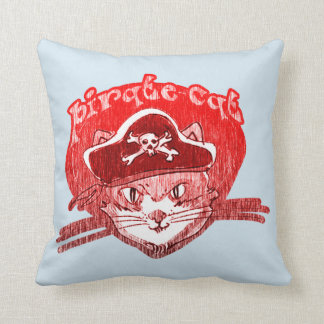 pirate cat cartoon style funny illustration throw pillow