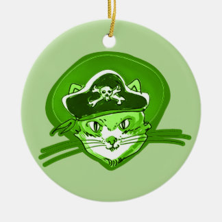 pirate cat cartoon style round ceramic decoration
