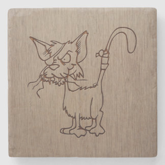 Pirate cat engraved on wood design stone beverage coaster