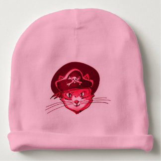 pirate cat funny cartoon baby beanie