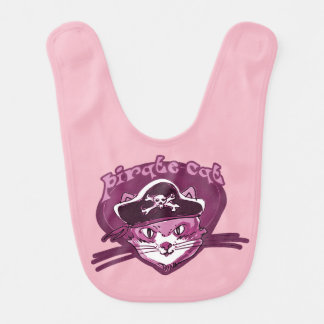 pirate cat funny cartoon bib