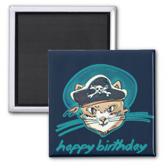 pirate cat funny cartoon happy birthday square magnet