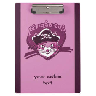 pirate cat sweet kitty purple tint cartoon clipboard