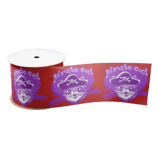 pirate cat sweet kitty with pirate hat cartoon satin ribbon