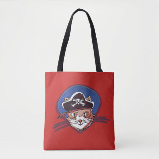 pirate cat sweet kitty with pirate hat cartoon tote bag
