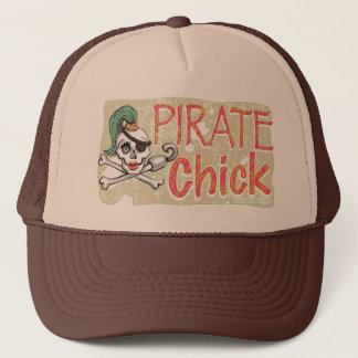 Pirate Chick Skull by Mudge Studios Trucker Hat