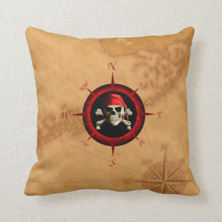 Pirate Compass Rose And Map Cushion