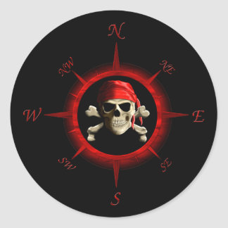 Pirate Compass Rose Round Sticker