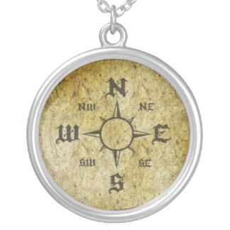Pirate Compass Silver Plated Necklace