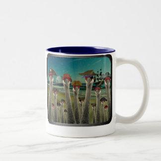 Pirate Cranes_Twilight Beach Two-Tone Mug