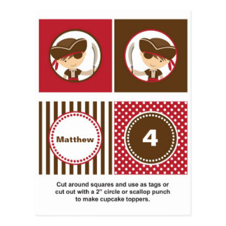 Pirate Cupcake Toppers Postcard