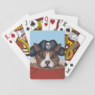 Pirate Cute Surprised Brown Striped Cat Poker Deck