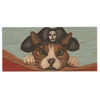 Pirate Cute Surprised Brown Striped Cat Wood USB Flash Drive