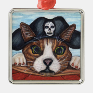 Pirate Cute Surprised Cat Christmas Ornament