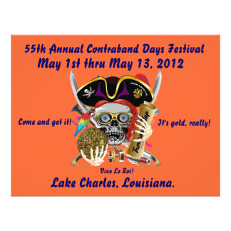 Pirate Days Lake Charles, Louisiana. 30 Colors Personalized Flyer
