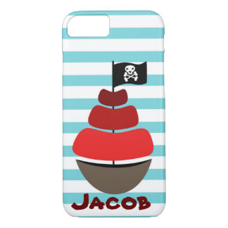 Pirate design with striped background iPhone 7 case