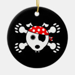 Pirate Dog Round Ceramic Decoration