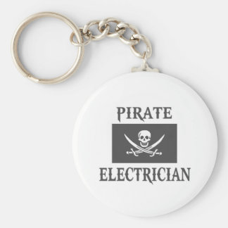 Pirate Electrician Basic Round Button Key Ring