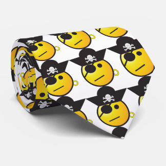 Pirate emoticon. Yellow and black Tie