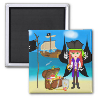 Pirate Faery with Ship and Treasure Magnet