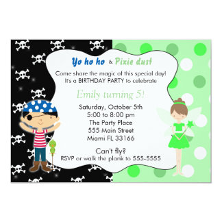 Pirate Fairy Birthday Invitation Lime Green Skulls
