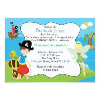Pirate Fairy Pixie Kids Birthday Party 13 Cm X 18 Cm Invitation Card