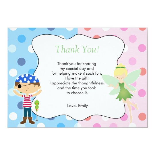 Pirate Fairy Thank You Card Kids Birthday Pink